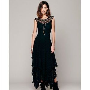 Free People French Courtship Lace Black Dress L